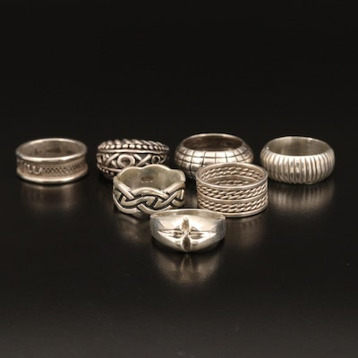 "Sterling Bands Including ""XO"" and Celtic Knot Design"
