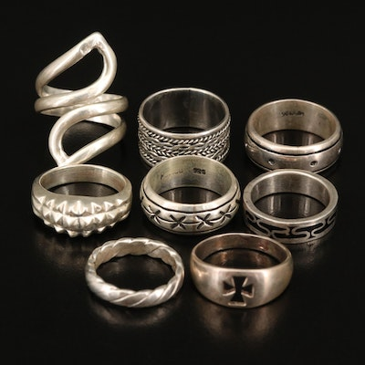 Sterling Textured Bands