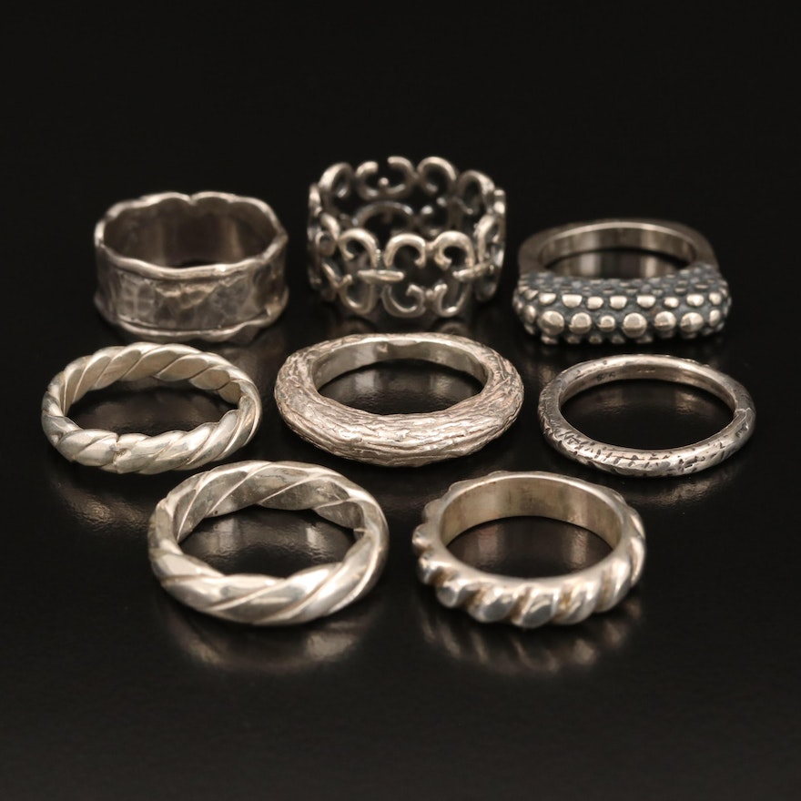 Sterling Textured Ring and Bands