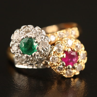 20K Ruby, Emerald and Diamond Ring with Platinum Heads