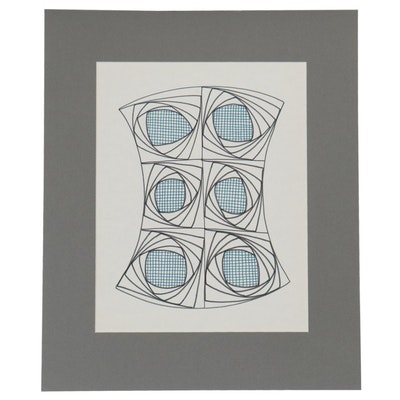 W. Glen Davis Abstract Ink Drawing, 20th Century