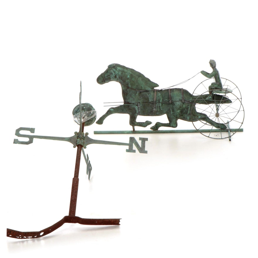 Patinated Copper Horse and Carriage Weathervane, Mid to Late 20th C