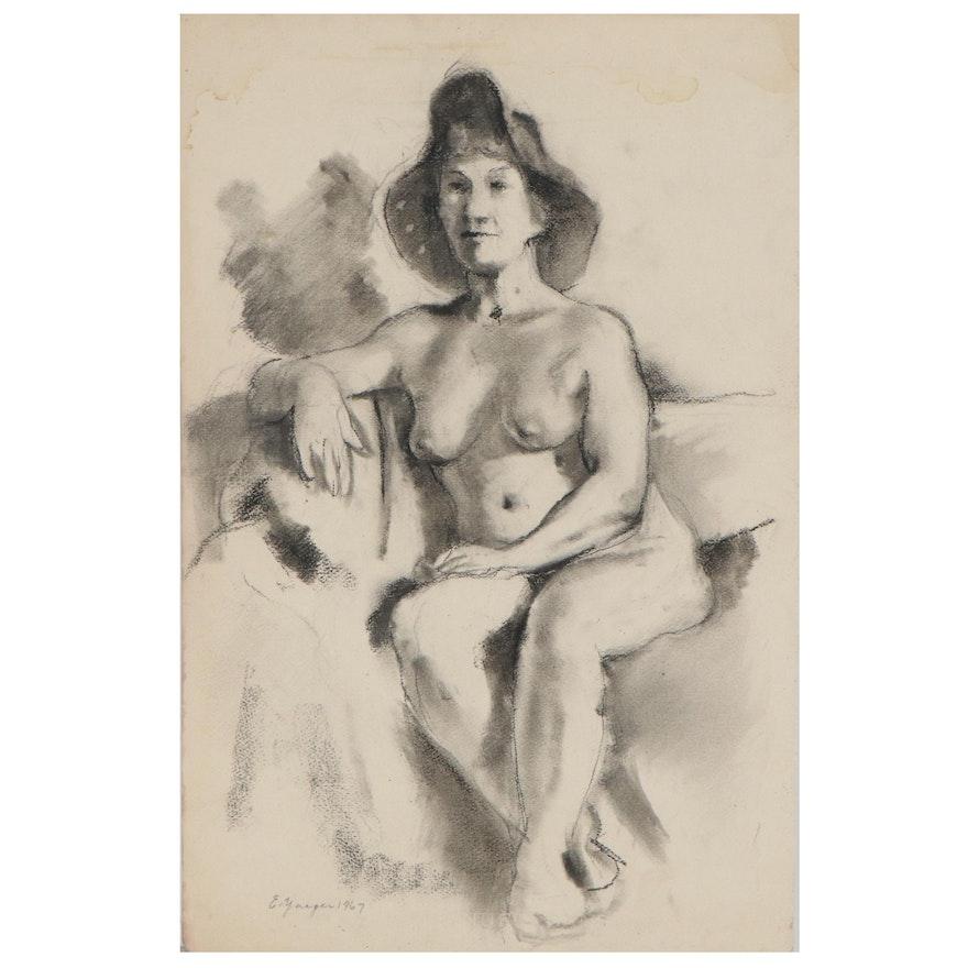 Edgar Yaeger Figural Nude Charcoal Drawing, 1967