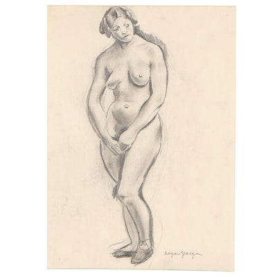 Edgar Yaeger Charcoal Drawing of Nude Figure, Mid-20th Century