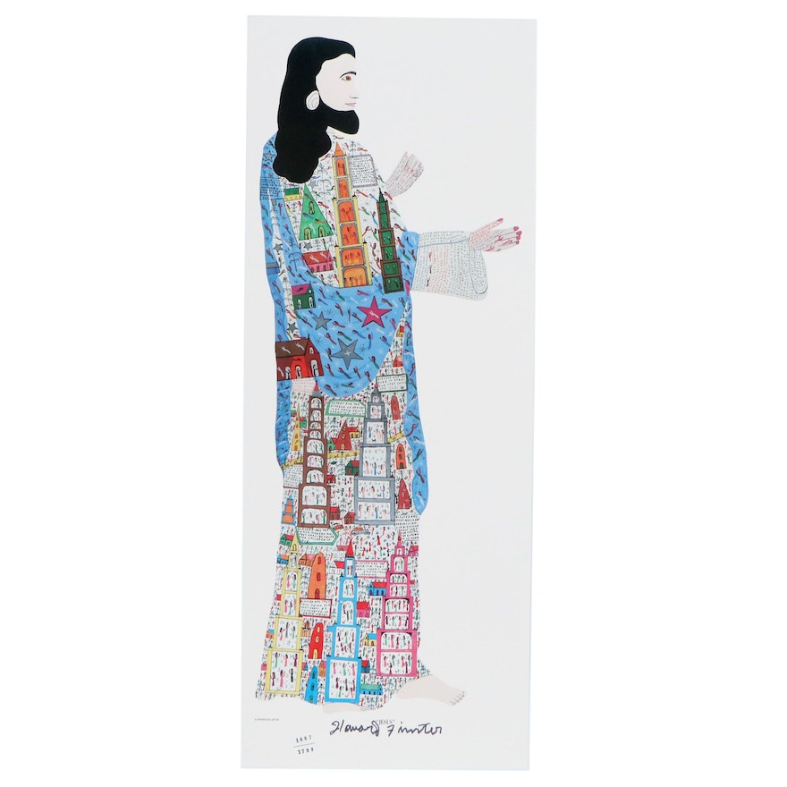 """Howard Finster Offset Lithograph """"Jesus,"""" Late 20th Century"""