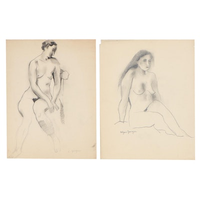 Edgar Yaeger Charcoal Drawings of Nude Figures, Mid-20th Century