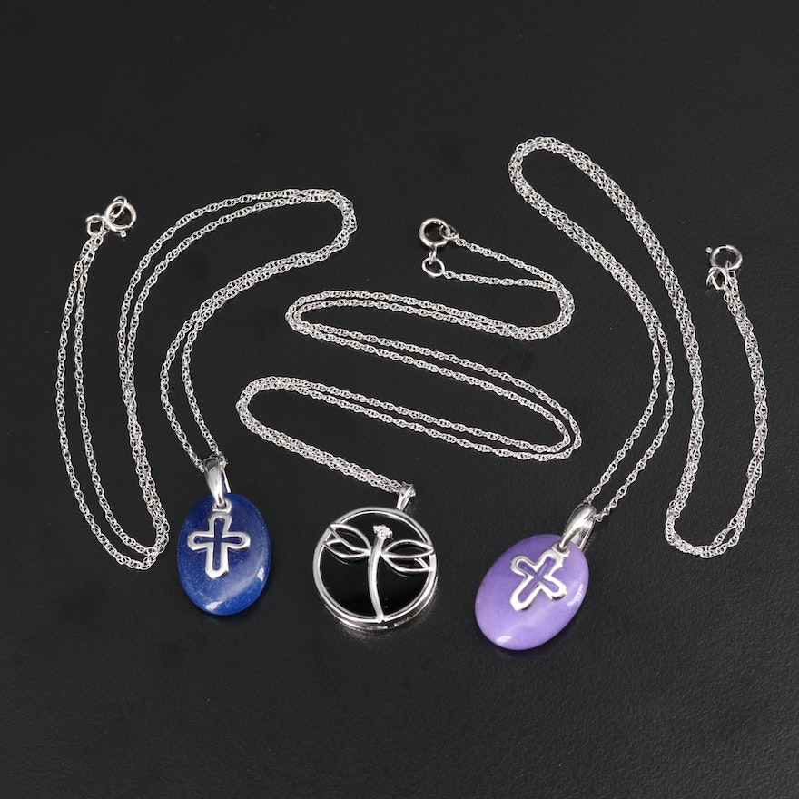 Sterling Dragonfly and Cross Pendant Necklaces with Black Onyx and Diamond