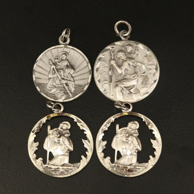 Sterling Saint Christopher Pendants Including Cut Out Pendants