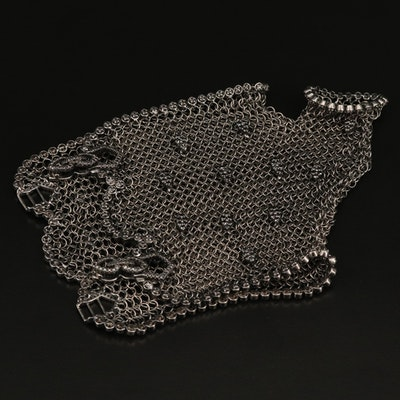 Sterling Black Diamond Chainmail Half Glove with Thumb Hole