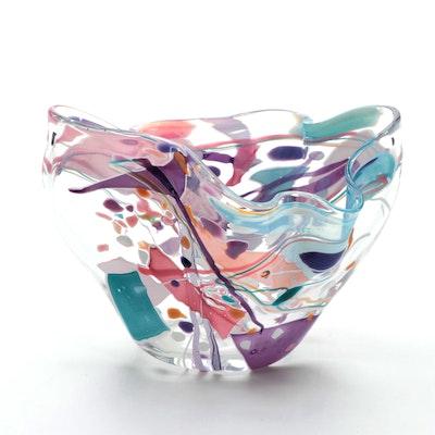 Stephen Rich Nelson Art Glass Vase, 1991