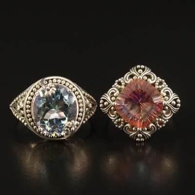 Sterling Mystic Quartz Openwork Rings