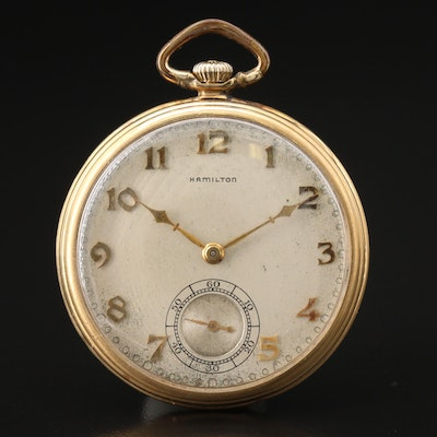 1917 Hamilton 14K Yellow Gold Pocket Watch