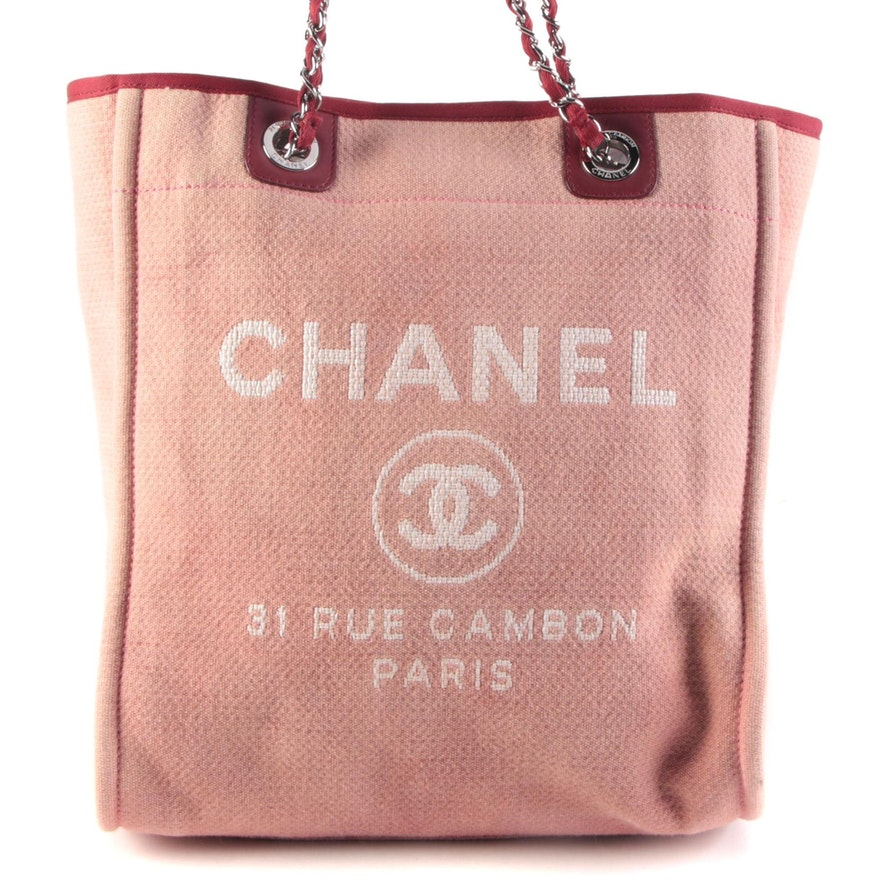 Chanel Deauville Canvas and Leather Trim Shoulder Tote