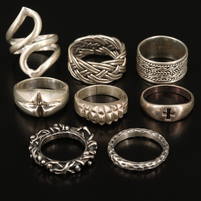 Sterling Rings Including Cross and Woven Designs