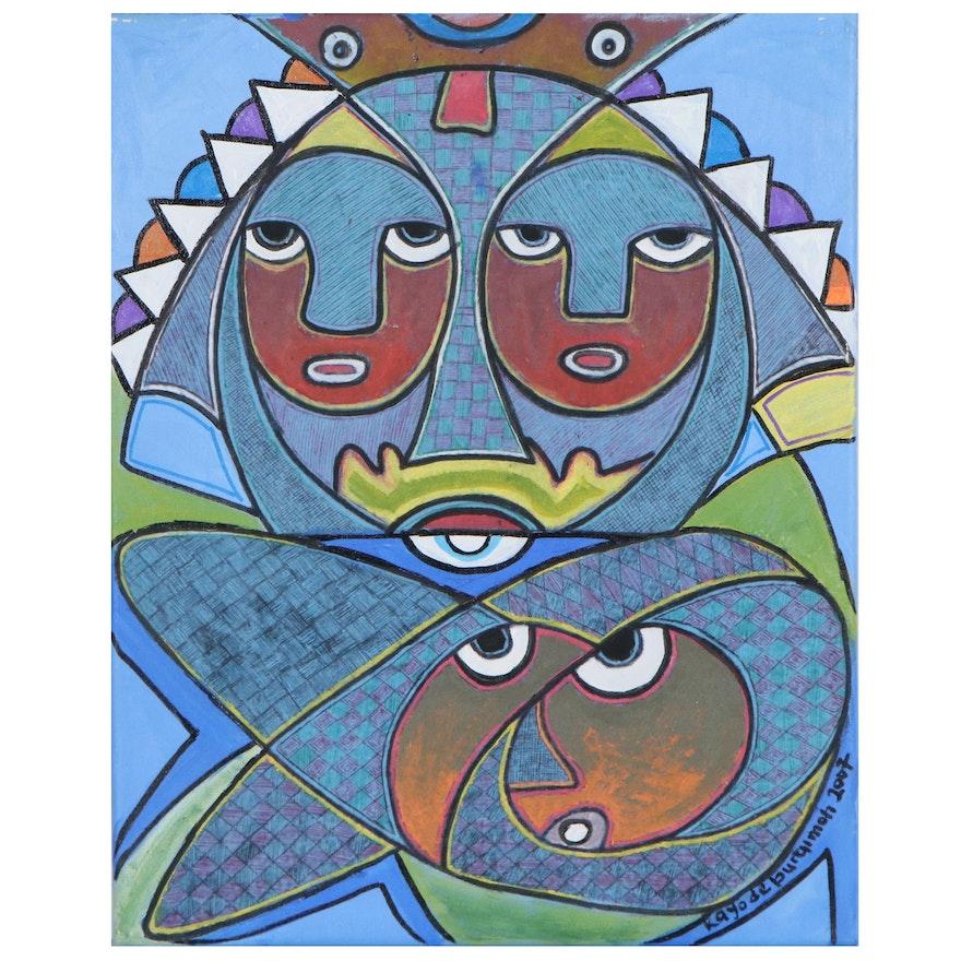 """Kayode Buraimoh Mixed Media Painting """"Victory,"""" 2007"""