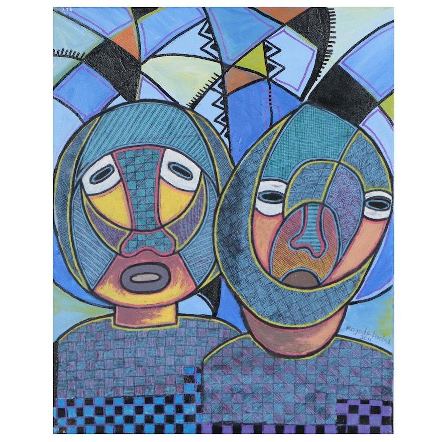 "Kayode Buraimoh Mixed Media Painting ""Meeting of Genius,"" 2011"