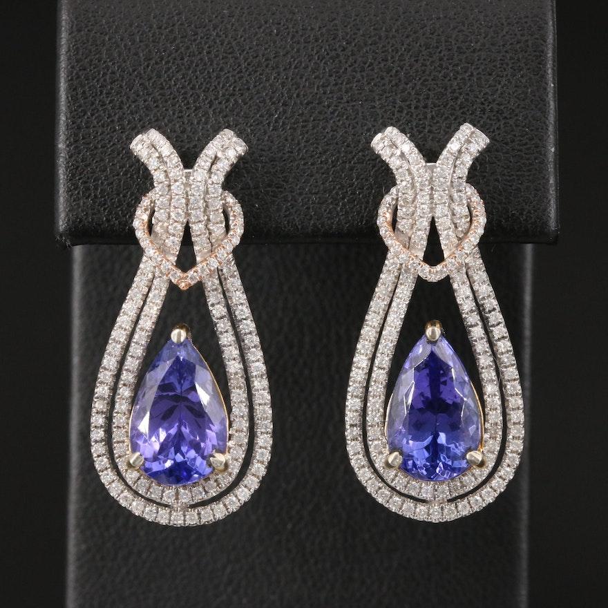 14K 5.40 CTW Tanzanite and 1.33 CTW Diamond Earrings