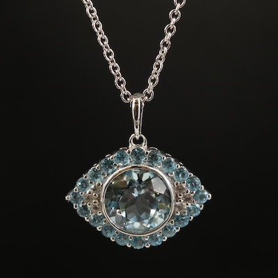 Sterling Topaz Evil Eye Pendant Necklace