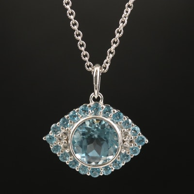 Sterling Topaz Evil Eye Necklace