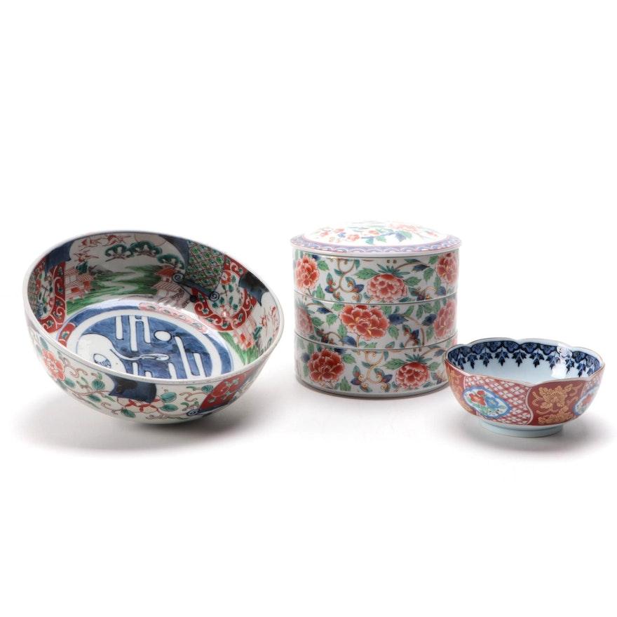 Japanese Imari Porcelain Bowls with Shibata Stacking Rice Bowls