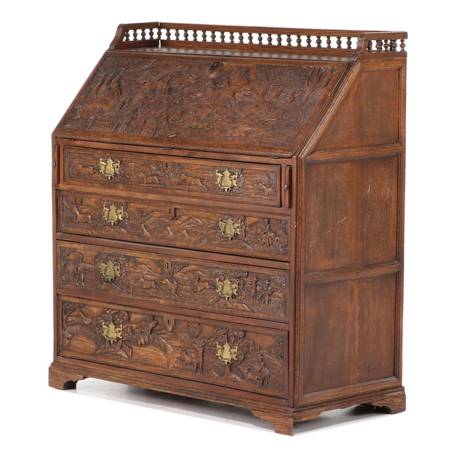 Relief-Carved Oak Bureau with Hunting Scenes, 20th Century