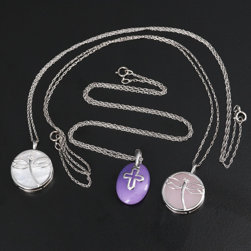 Sterling Diamond and Gemstone Necklaces Featuring Dragonflies