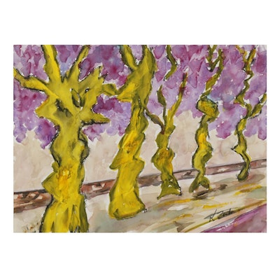 "Kathleen Zimbicki Watercolor Painting ""French Trees Yellow,"" 21st Century"