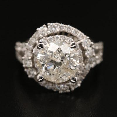 18K 3.46 CTW Diamond Double Halo Ring