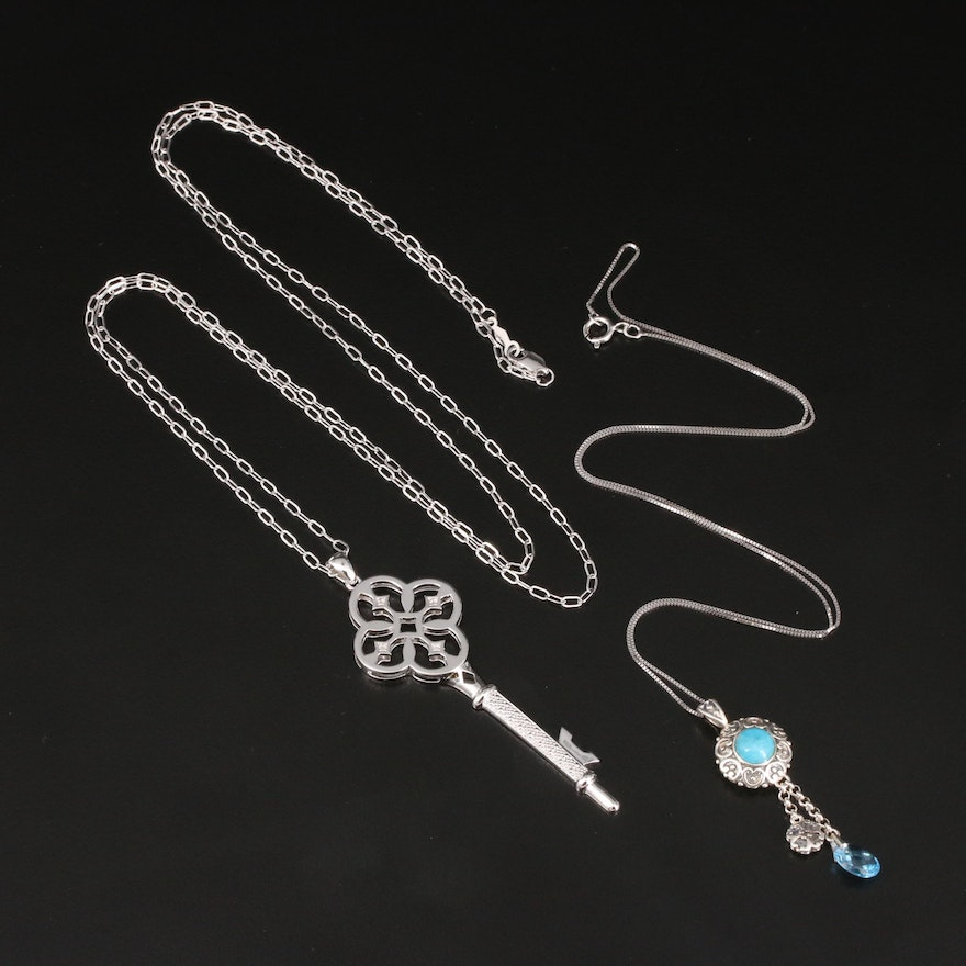 Sterling Topaz and Turquoise Drop and Key Necklaces