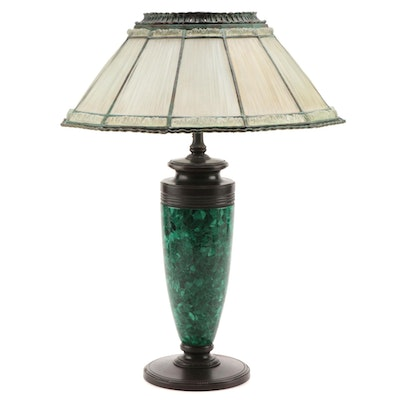 Tiffany Studios Linenfold Glass Lamp Shade with Malachite Lamp Base