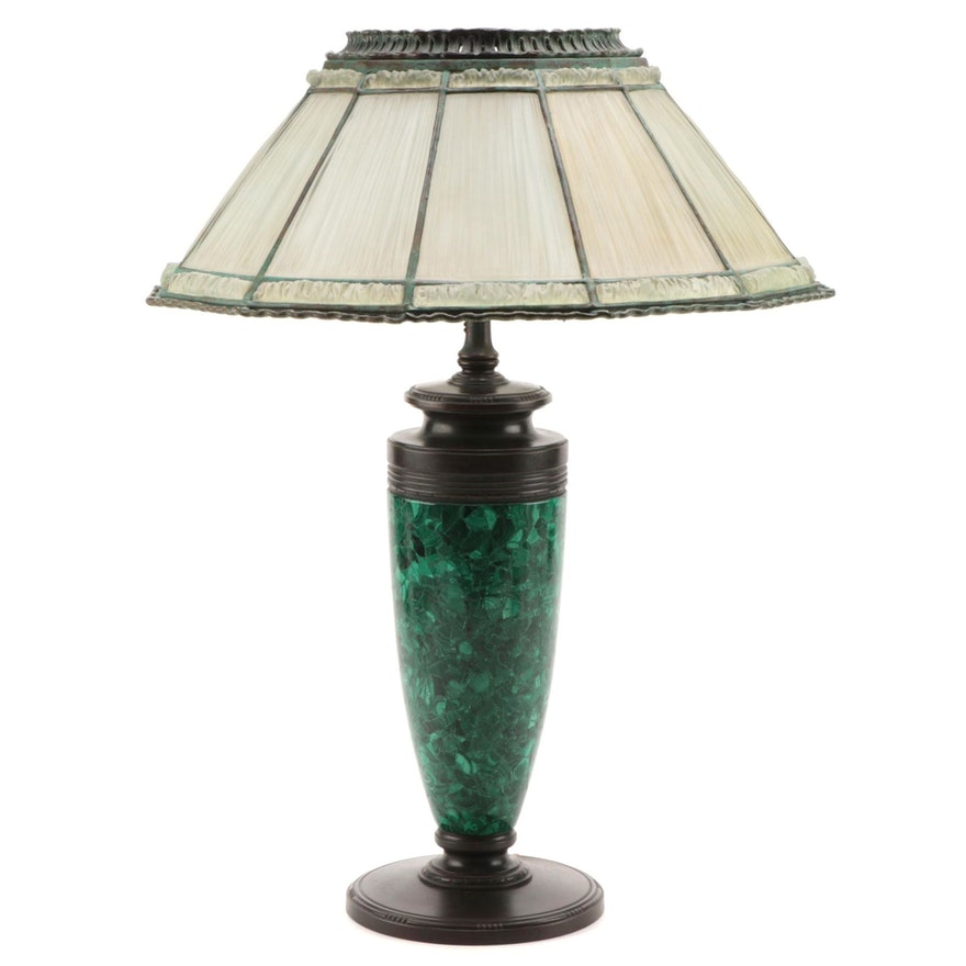 Tiffany Studios Linenfold Glass Lamp Shade with Malachite Lamp Base