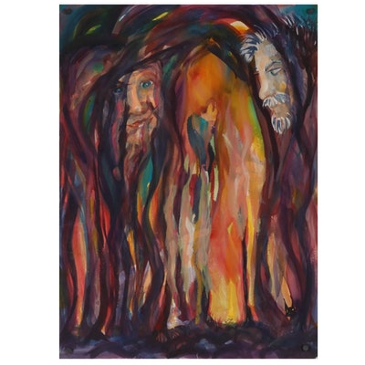 Kathleen Zimbicki Double-Sided Watercolor Painting of Two Faces, 21st Century