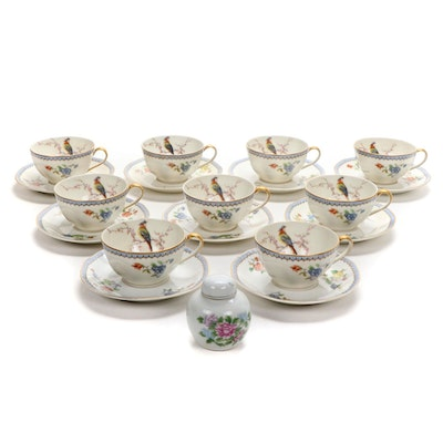 """Theodore Haviland """"Paradise"""" Limoges Teacups and Saucers, Early 20th C."""