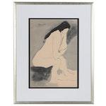 Yasuo Kuniyoshi Ink and Wash Figure Study, Mid-20th Century