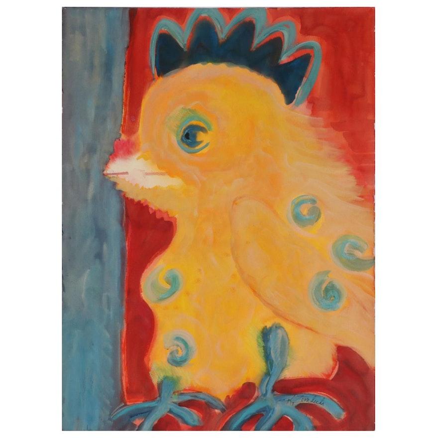 "Kathleen Zimbicki Watercolor Painting ""Big Baby Chick,"" 21st Century"