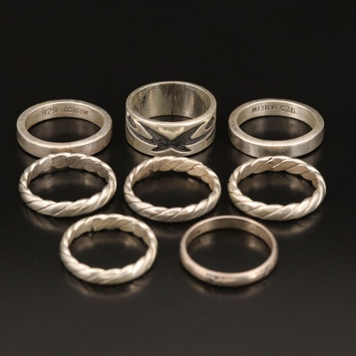 Sterling Stackable Bands Including Patterns and Twist Styles
