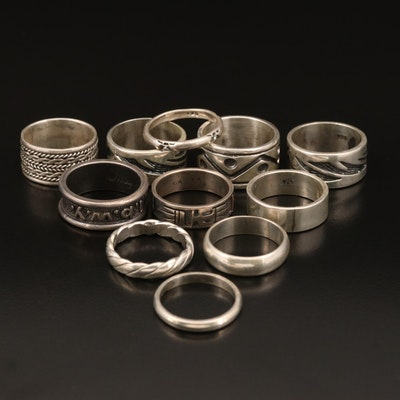 Sterling Stackable Bands Including Patterns