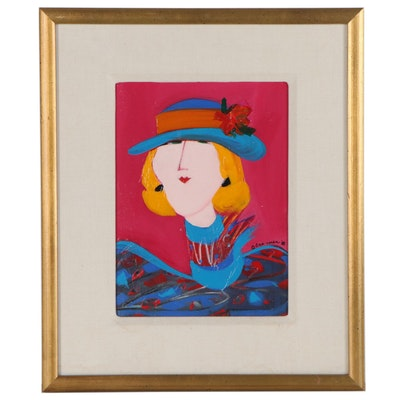 "Patti Cramer Portrait Acrylic Painting ""Fuchsia Shook,"" 1988"