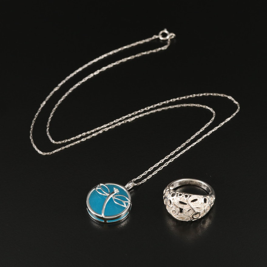 Fine Silver Diamond Ring and Sterling Quartzite Dragonfly Necklace
