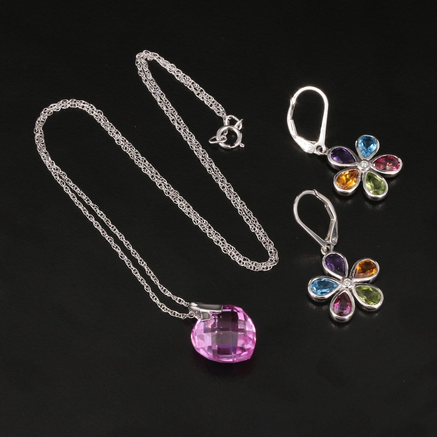 Sterling Sapphire Heart Necklace with Topaz and Diamond Flower Earrings