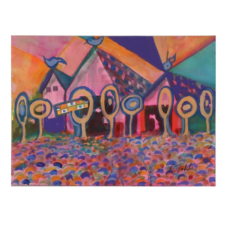 """Kathleen Zimbicki Watercolor Painting """"Birds,"""" 21st Century"""