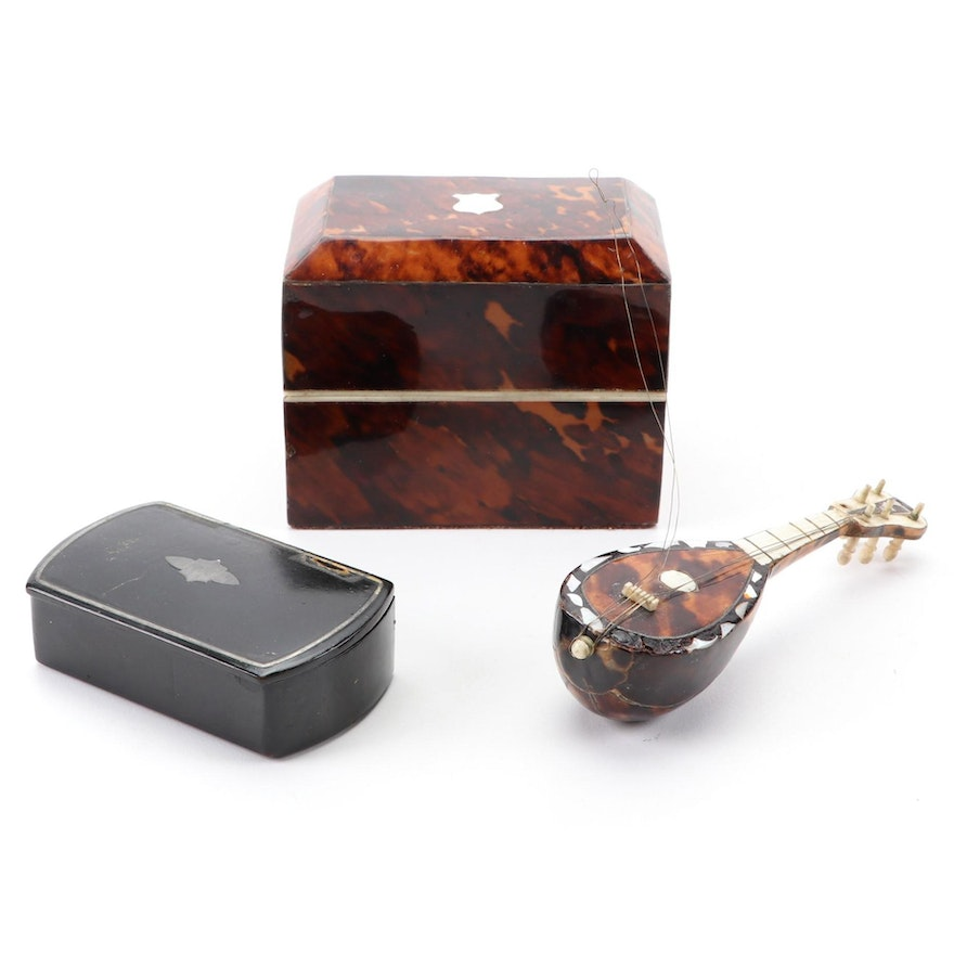Tortoiseshell Perfume Casket and Figural Lute with Papier-Mâché Snuff Box