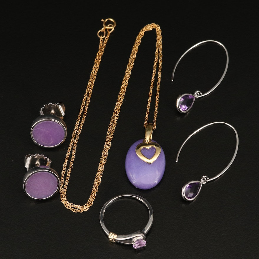 Sterling Rings, Earrings and Heart Necklace Featuring Amethyst and Quartzite