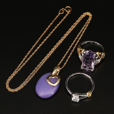 Sterling Rings and Heart Necklace Featuring Amethyst, Topaz and Quartzite