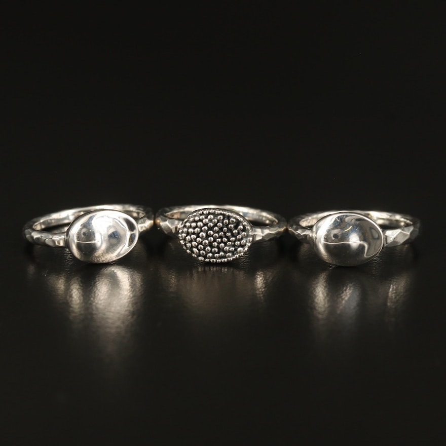 Michael Dawkins Sterling Stackable Textured Rings