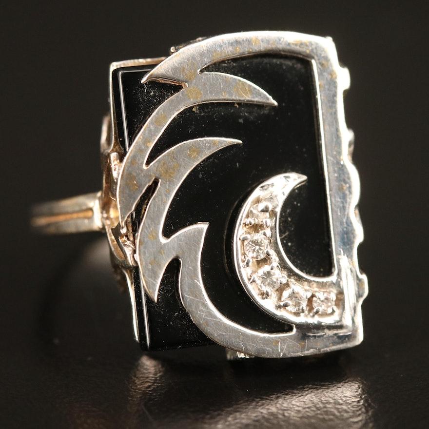 14K Black Onyx and Diamond Crescent Moon Ring