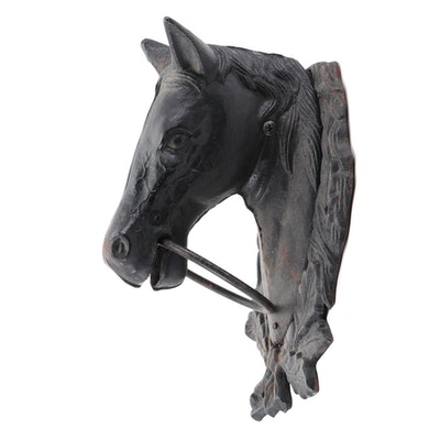 Cast Iron Horse Wall Mount Hitching Post