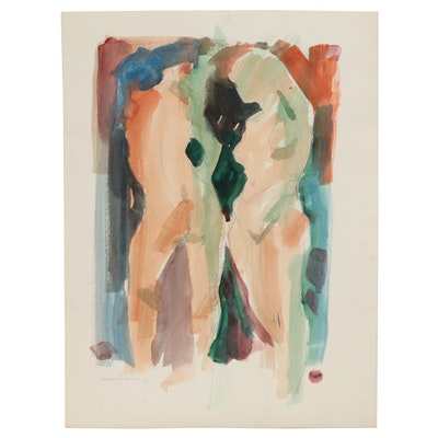 Jack Meanwell Abstract Figural Nudes Watercolor Painting, 1990
