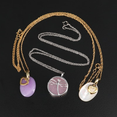 Quartzite, Diamond and Mother of Pearl Dragonfly and Heart Necklaces