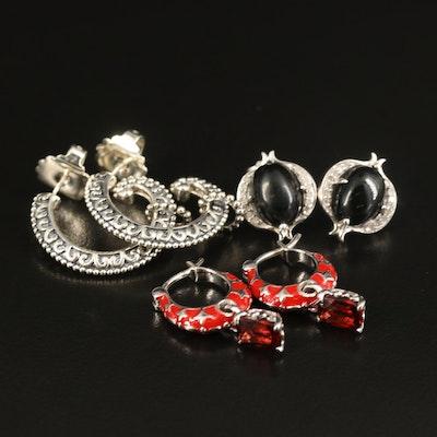 Sterling Earrings with Garnet, Black Onyx and Diamond